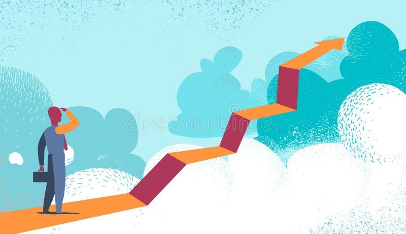 Unternehmer, der die Zukunft über den Wolken hinaus sieht lizenzfreie abbildung