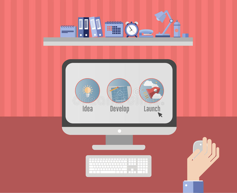 Unternehmer, der an Unternehmensplan auf Computer arbeitet lizenzfreie abbildung