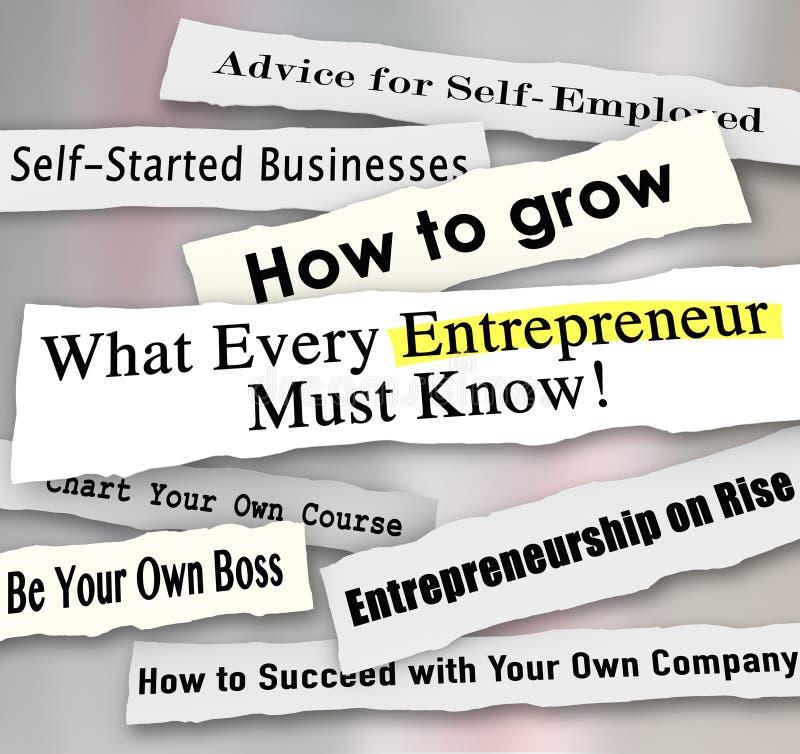 Unternehmer Headlines Torn vom Papier was jedes Geschäft Perso stock abbildung