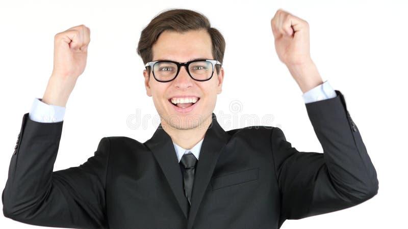 Unternehmer ist mit seinem Gewinn, Einkommen, das Einkommen zufrieden und jubelt Erfolg zu lizenzfreies stockfoto