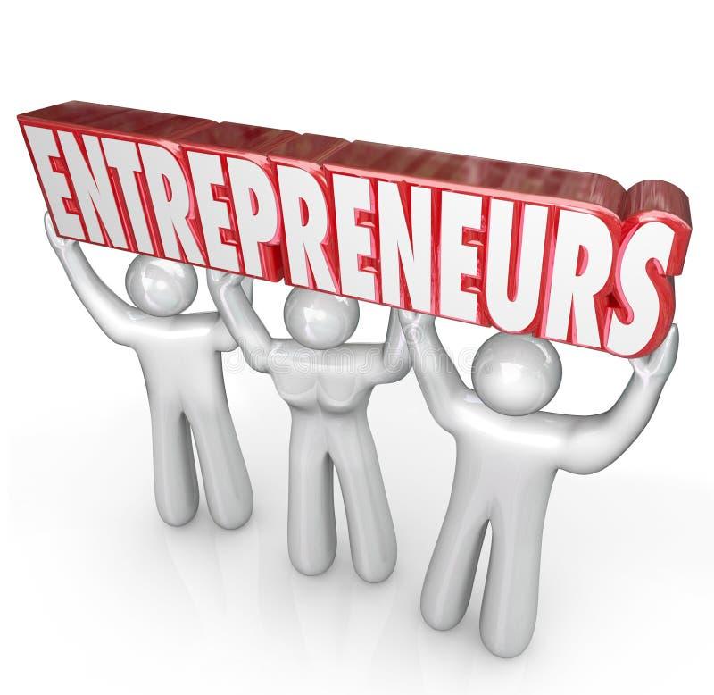 Unternehmer-Leute-anhebende Wort-Start-Geschäftsleute vektor abbildung