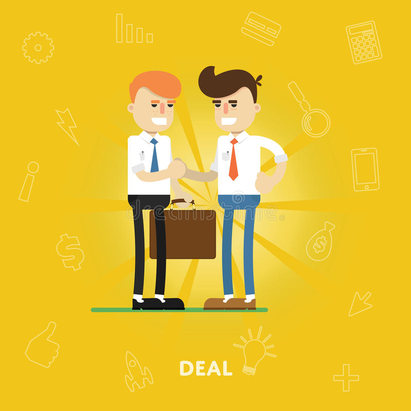 Unternehmer sind sich über ein Abkommen einig vektor abbildung