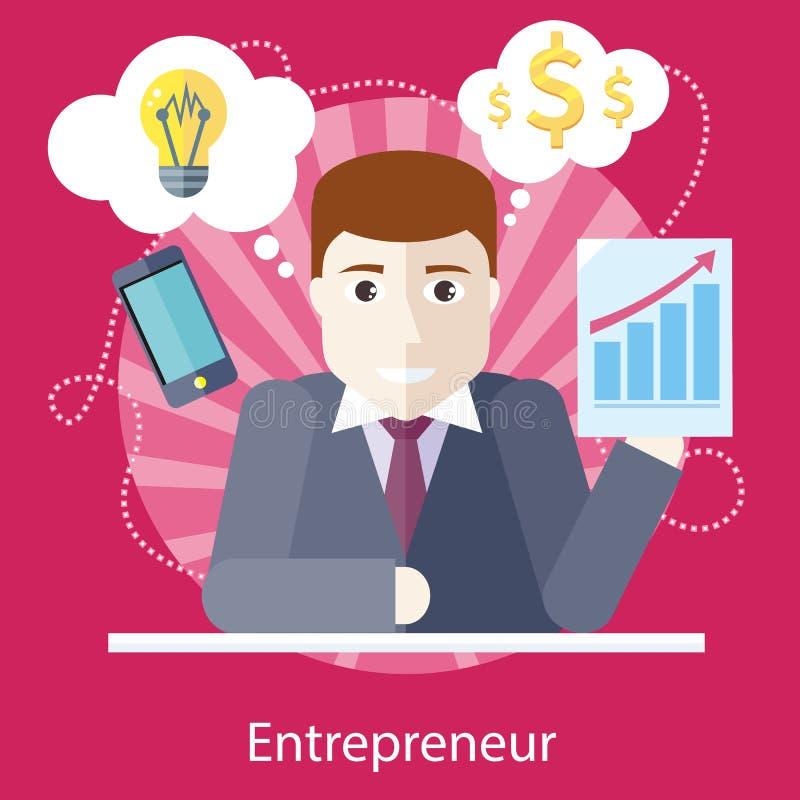 Unternehmer Working auf freiberuflich tätigem Projekt lizenzfreie abbildung