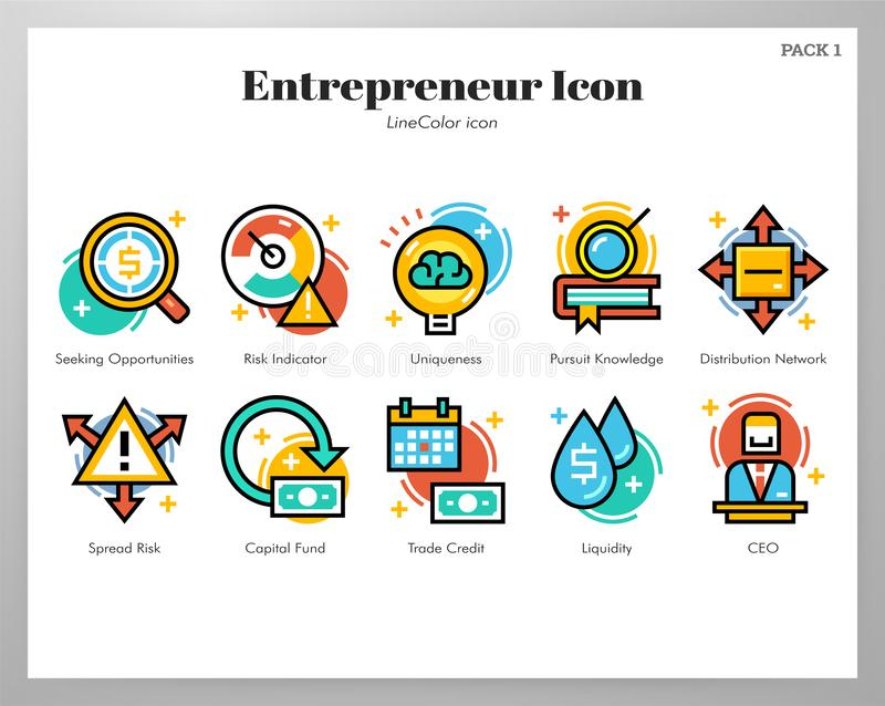 Unternehmerikonen LineColor-Satz vektor abbildung