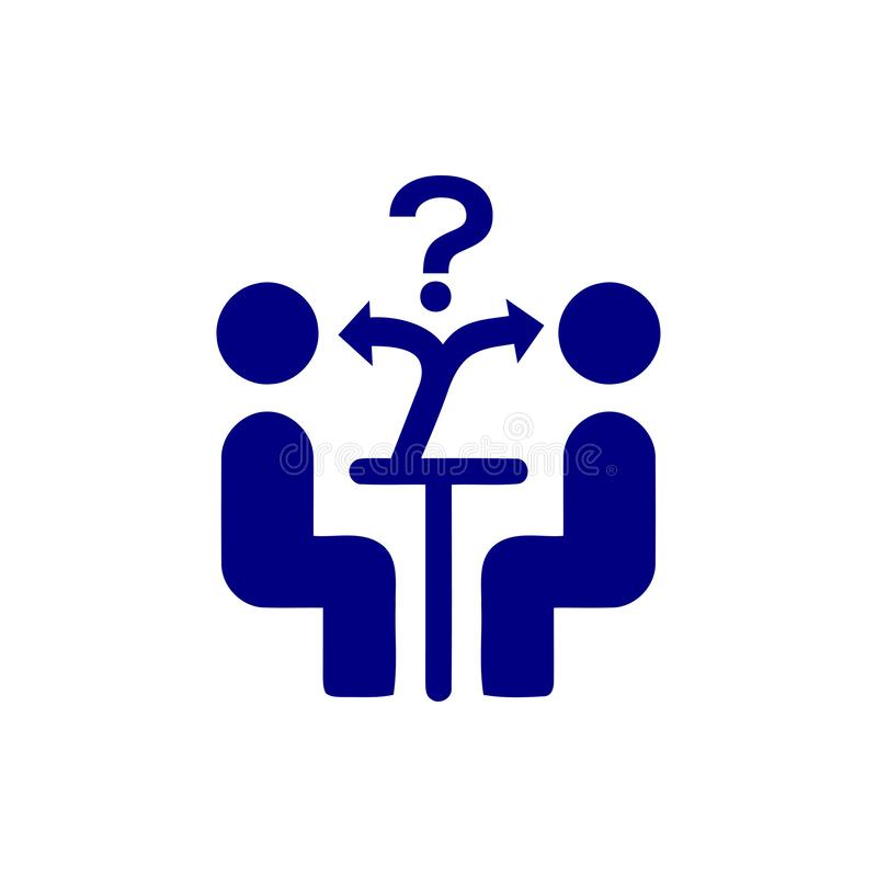 Unternehmerische Entscheidung, Unternehmensplan, Beschlussfassung, Management, Teamentscheidung, Plan, Planung, blaue Ikone der S stock abbildung