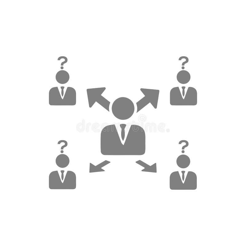 Unternehmerische Entscheidung, Unternehmensplan, Beschlussfassung, Management, Teamentscheidung, Plan, Planung, graue Ikone der S lizenzfreie abbildung