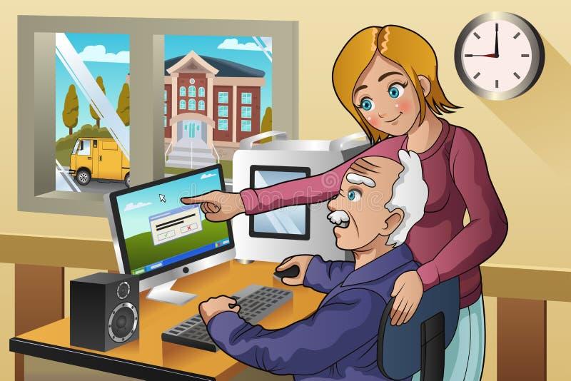 Unterrichtender Senior des Mädchens, wie man einen Computer benutzt stock abbildung