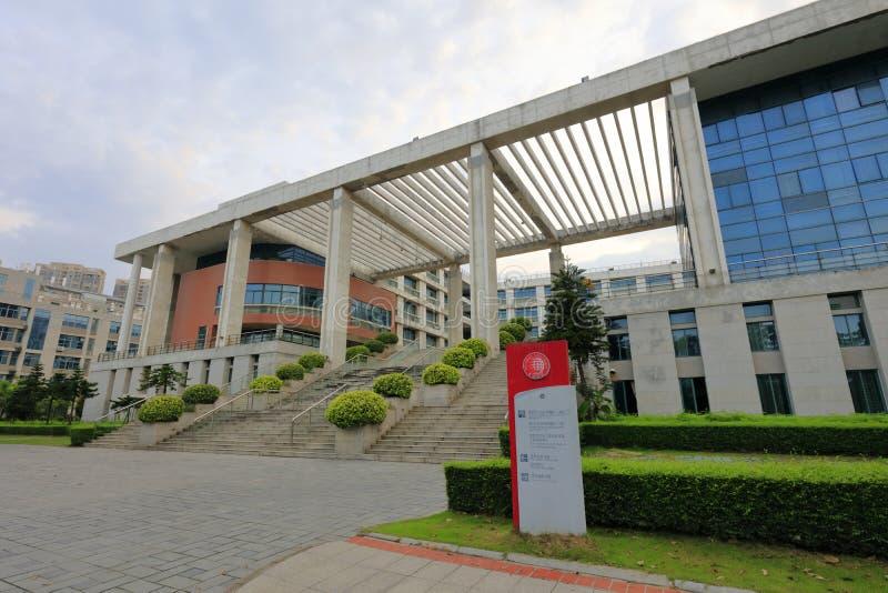 Unterrichtendes Gebäude in Xiamen-Campus von Huaqiao-Universität, luftgetrockneter Ziegelstein rgb lizenzfreies stockfoto