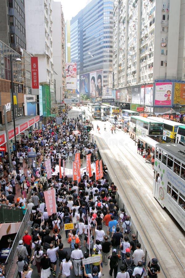 ?Unterrichtswesen? wirft Wirbel in Hong Kong auf stockfotos
