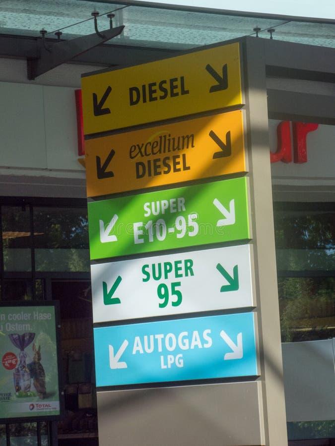 Unterschiedliche Art des Brennstoffs in einer Tankstelle stockbild