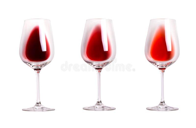 Unterschiedliche Art des Rotweins Reihe verschiedene Arten des Weins Weingläser lokalisiert auf weißem Hintergrund lizenzfreie stockfotografie