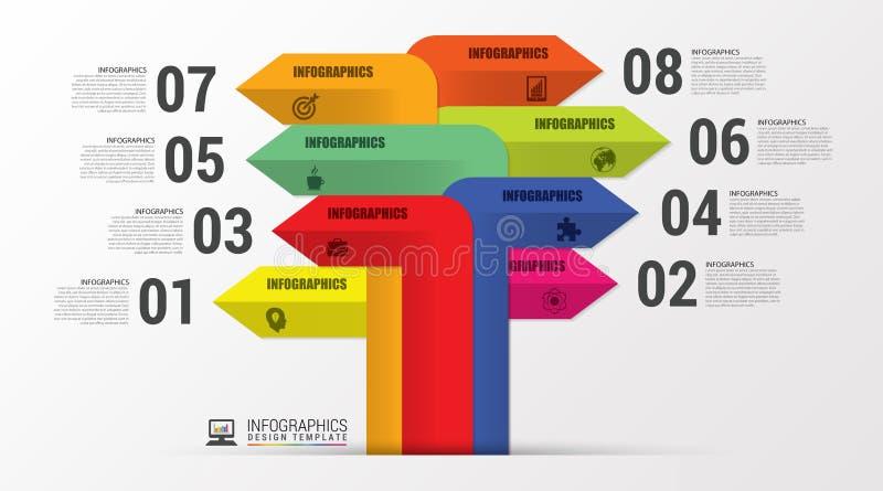 Unterschiedliche Art Infographics mit Pfeilen Moderne Schablone Vektor stock abbildung