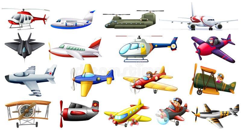 Unterschiedliche Art von Flugzeugen vektor abbildung