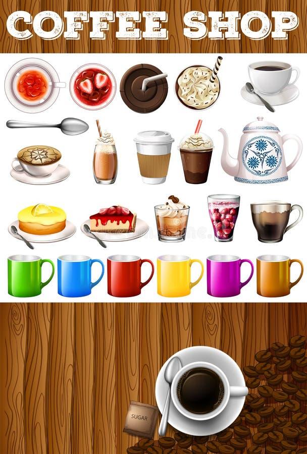 Unterschiedliche Art von Getränken und von Nachtischen in der Kaffeestube vektor abbildung