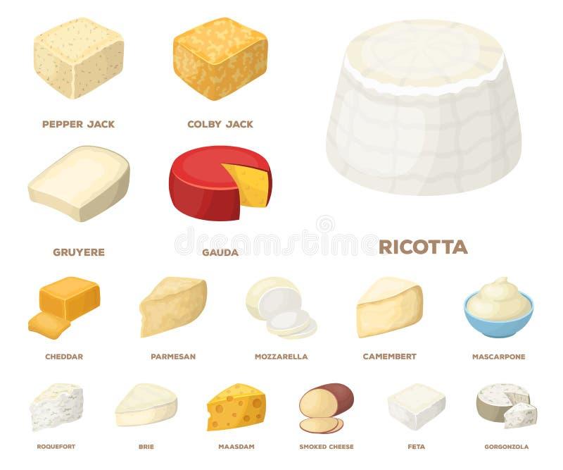 Unterschiedliche Art von Käsekarikaturikonen in der Satzsammlung für Design Milchprodukt-Käsevektorsymbol-Vorratnetz stock abbildung