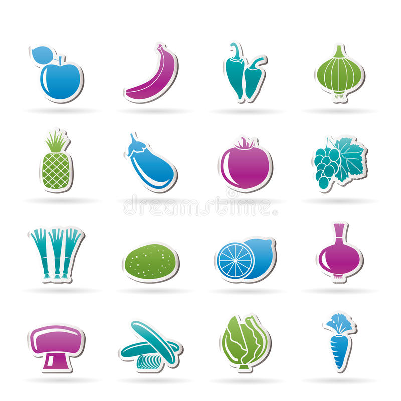 Unterschiedliche Art von Obst und Gemüse von Ikonen lizenzfreie abbildung