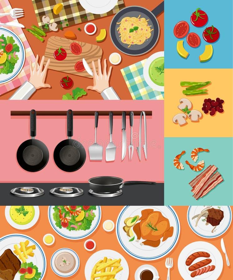 Unterschiedliche Bestandteile und Lebensmittel auf verschiedenen Hintergründen vektor abbildung