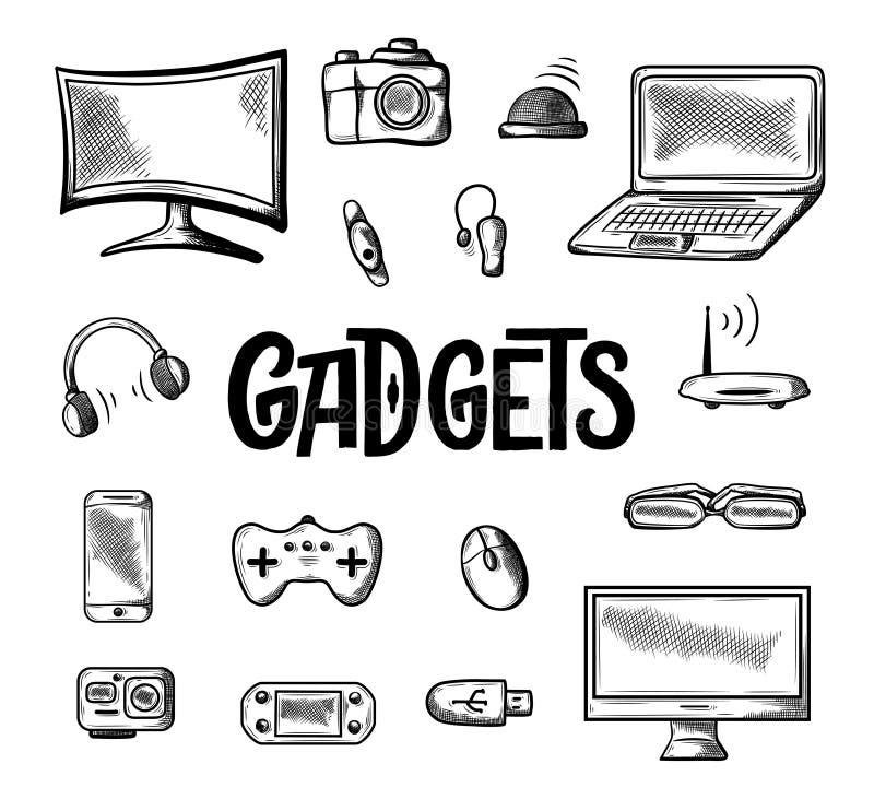 Unterschiedliche Computergerätikone Gekritzelillustration lokalisiert auf weißem Hintergrund Hand gezeichnete Skizzenzeichnung, e lizenzfreie abbildung