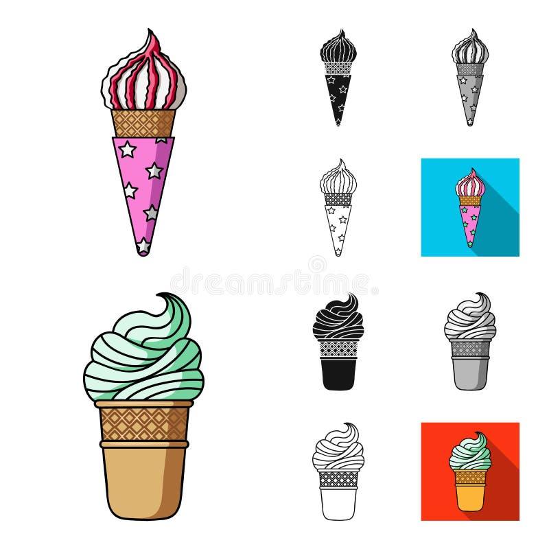 Unterschiedliche Eiscremekarikatur, Schwarzes, flach, einfarbig, Entwurfsikonen in der Satzsammlung für Design Nachtisch und Süss vektor abbildung