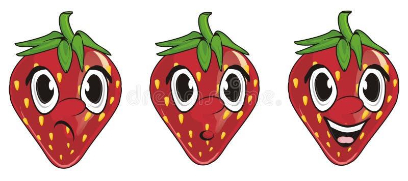 Unterschiedliche Erdbeere drei vektor abbildung