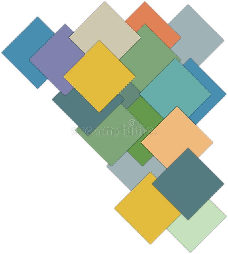 Unterschiedliche Farbe des abstrakten Vektorhintergrundes quadriert freien Raum stock abbildung