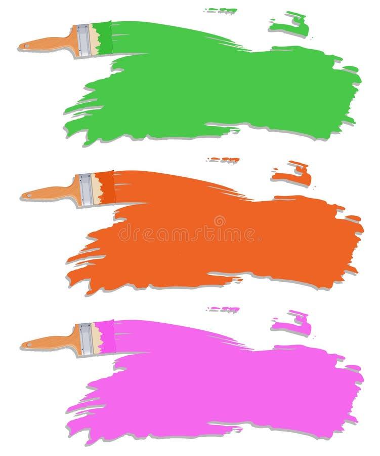Unterschiedliche Farbe des Pinsels lizenzfreie abbildung
