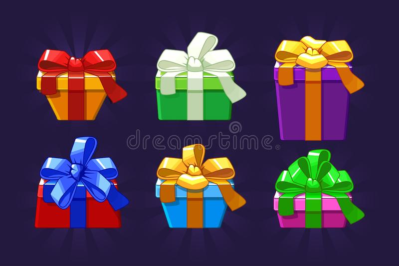 Unterschiedliche farbige der Karikatur und Form Geschenkbox, Vektorgegenstände stock abbildung