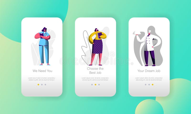 Unterschiedliche freie Stelle wählen Gelegenheits-Charakter bewegliche App-Seite an Bord des Schirm-Satzes Chef und Doktor Career stock abbildung
