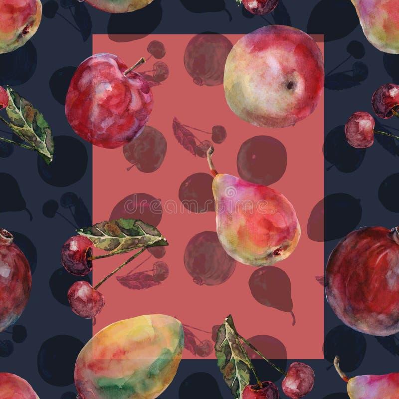 Unterschiedliche Frucht des Aquarells Nahtloses Muster auf einem violetten Hintergrund lizenzfreie abbildung