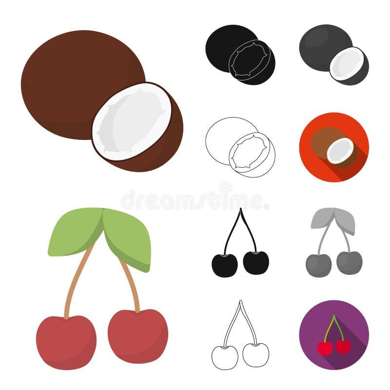 Unterschiedliche Fruchtkarikatur, Schwarzes, flach, einfarbig, Entwurfsikonen in der Satzsammlung für Design Frucht- und Vitaminv stock abbildung