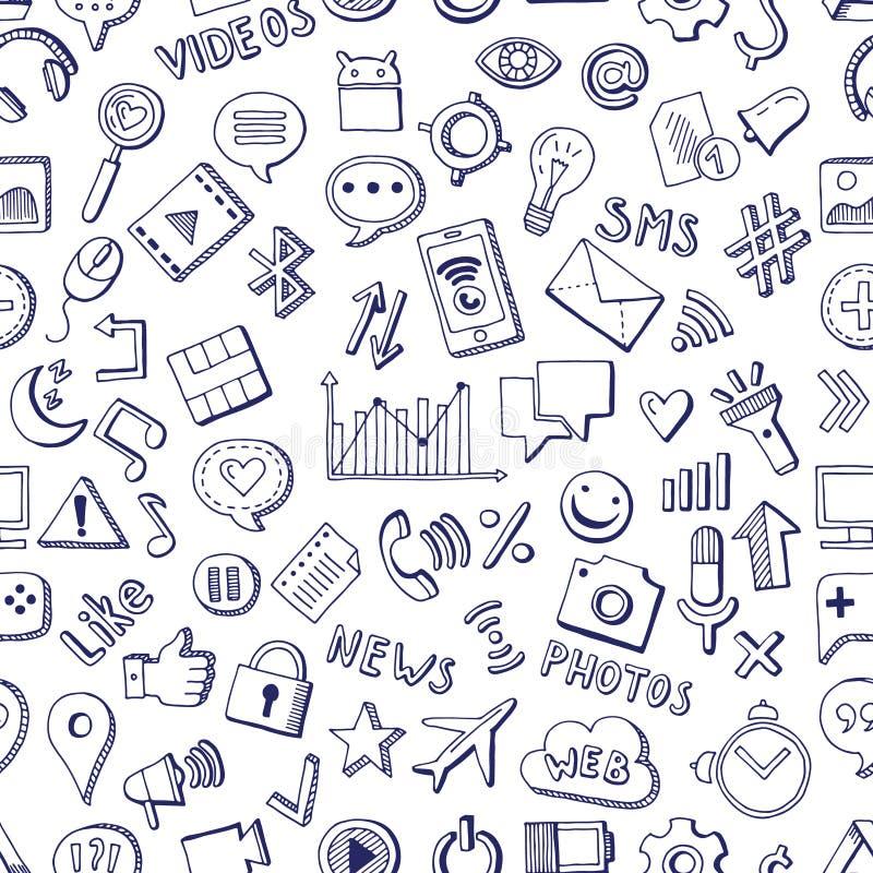 Unterschiedliche gezeichnete Art der Social Media-Ikonen in der Hand Nahtloses Muster des Vektors auf weißem Hintergrund vektor abbildung