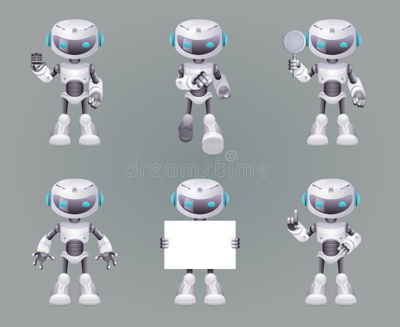 Unterschiedliche Haltungs-Roboterinnovationstechnologie-Zukunftsromane zukünftige nette kleine Bühnenbild-Vektorillustration Ikon vektor abbildung