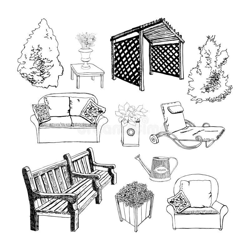 Unterschiedliche Hand gezeichneter Gartengegenstand durch Tinte für Leben der Sichtbarmachung im Freien vektor abbildung