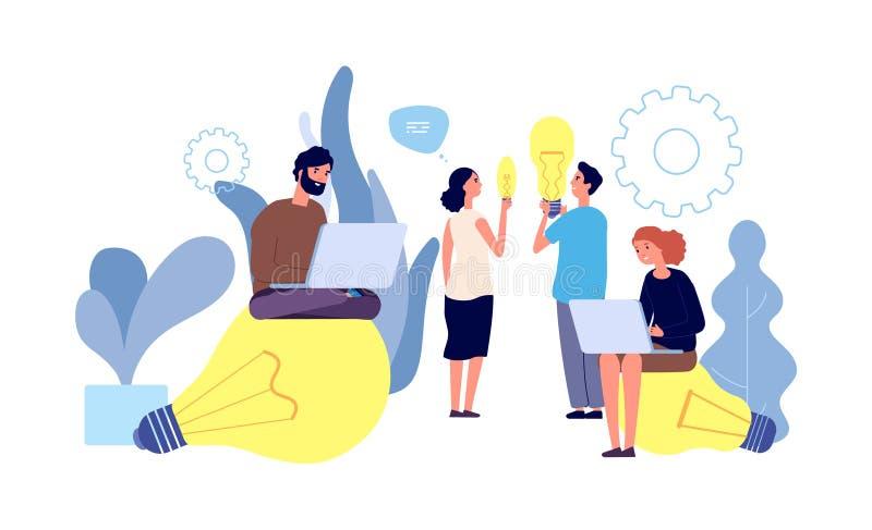 Unterschiedliche Ideen Menschen haben Ideen Innovation, Teamarbeit, Start Jugendliche mit Riesenfiguren vektor abbildung