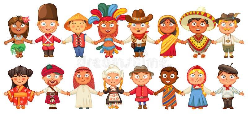 Unterschiedliche Kultur, die zusammen Händchenhalten steht stock abbildung