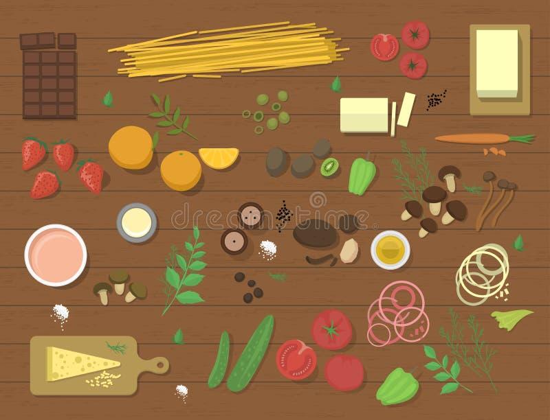 Unterschiedliche Lebensmittelinhaltsstoffteigwaren Bewohner von Bolognese und Spaghettimittagessenabendessentomatensalatcollage v vektor abbildung