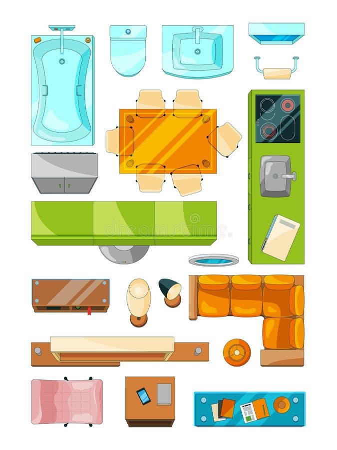 Unterschiedliche Möbel stellten für Plan der Wohnung ein Vektorbilder stellten Draufsicht ein lizenzfreie abbildung