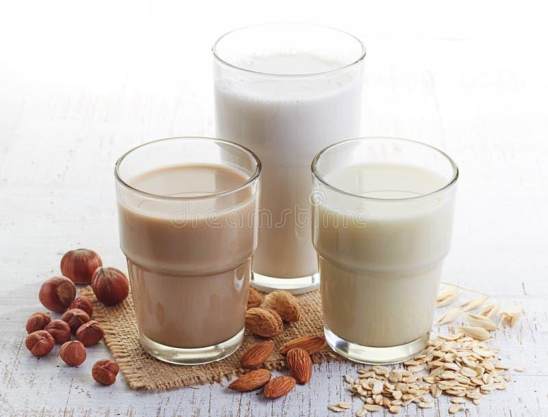 Unterschiedliche Milch des strengen Vegetariers lizenzfreies stockbild