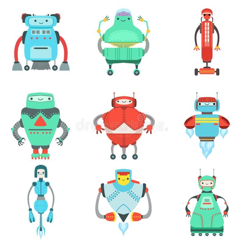 Unterschiedliche nette fantastische Roboter-Charakter-Sammlung lizenzfreie abbildung