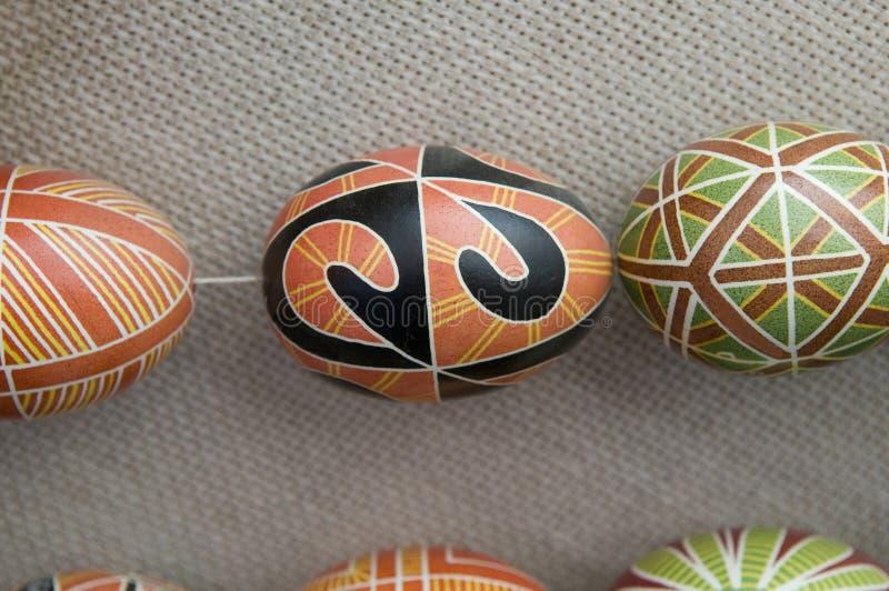 Unterschiedliche Pysankas - dekorierte Eier stockbild