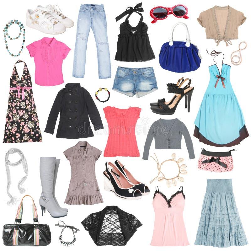 Unterschiedliche weibliche Kleidung, Schuhe und Zubehör. lizenzfreie stockbilder