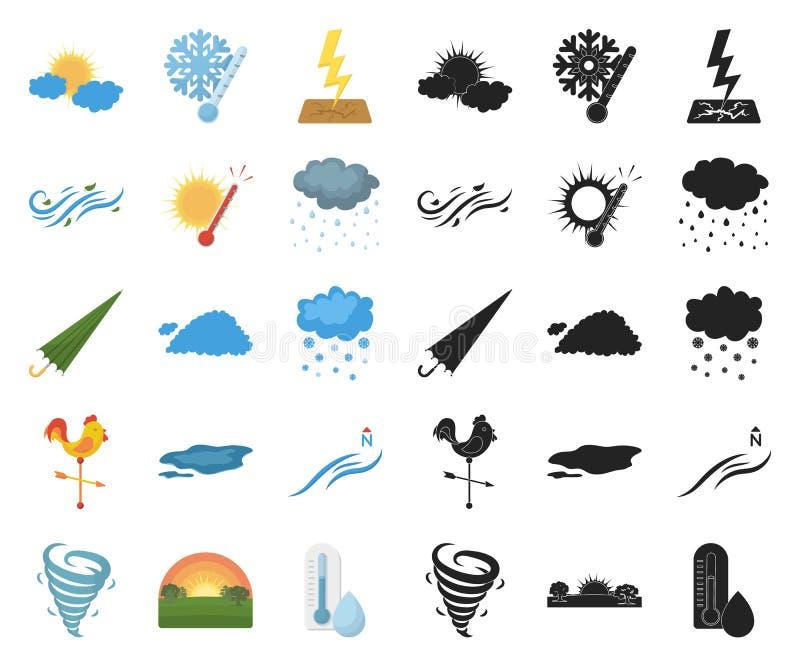 Unterschiedliche Wetterkarikatur, schwarze Ikonen in gesetzter Sammlung für Entwurf r vektor abbildung