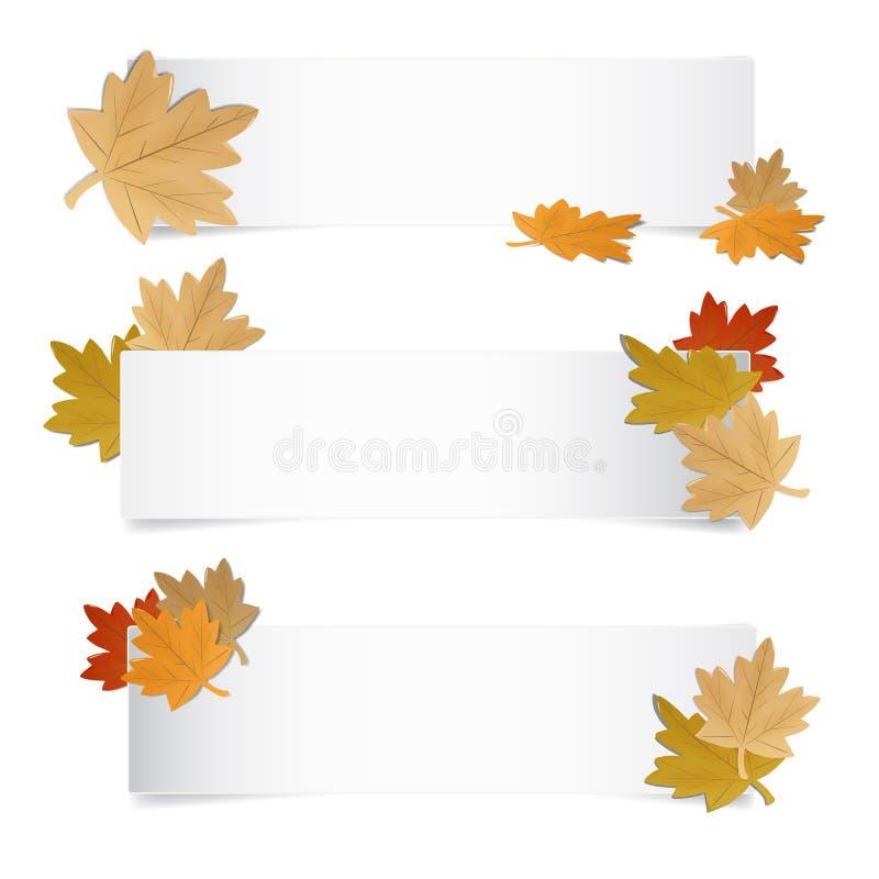 Unterschiedlicher Autumn Web Banner With Colorful Leafes stock abbildung
