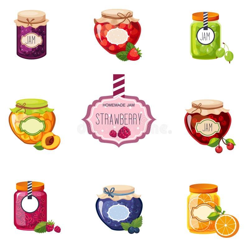 Unterschiedlicher Berry And Fruit Jam Jars-Satz Illustrationen lizenzfreie abbildung