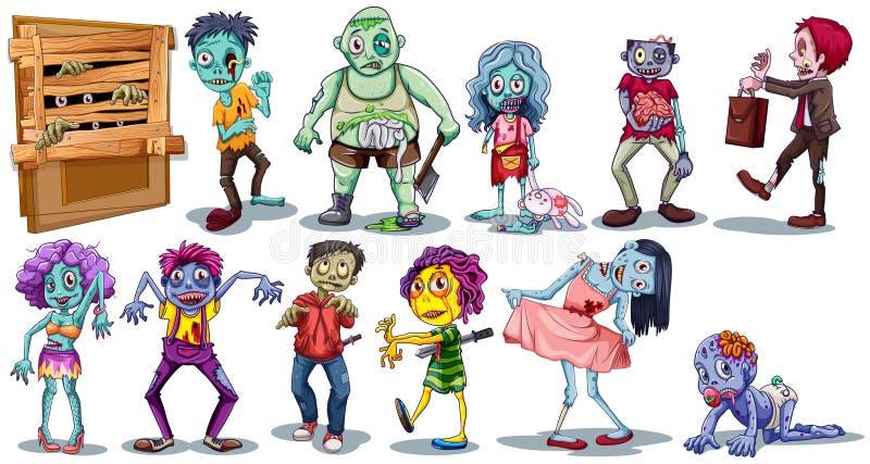 Unterschiedlicher Charakter von Zombies lizenzfreie abbildung