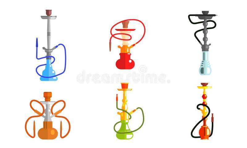 Unterschiedlicher Farbsatz Hukaods, Lounge Bar-oder Rauch-Geschäfts-Gestaltungselement, Ausrüstung für das Verdunsten und Rauchen lizenzfreie abbildung