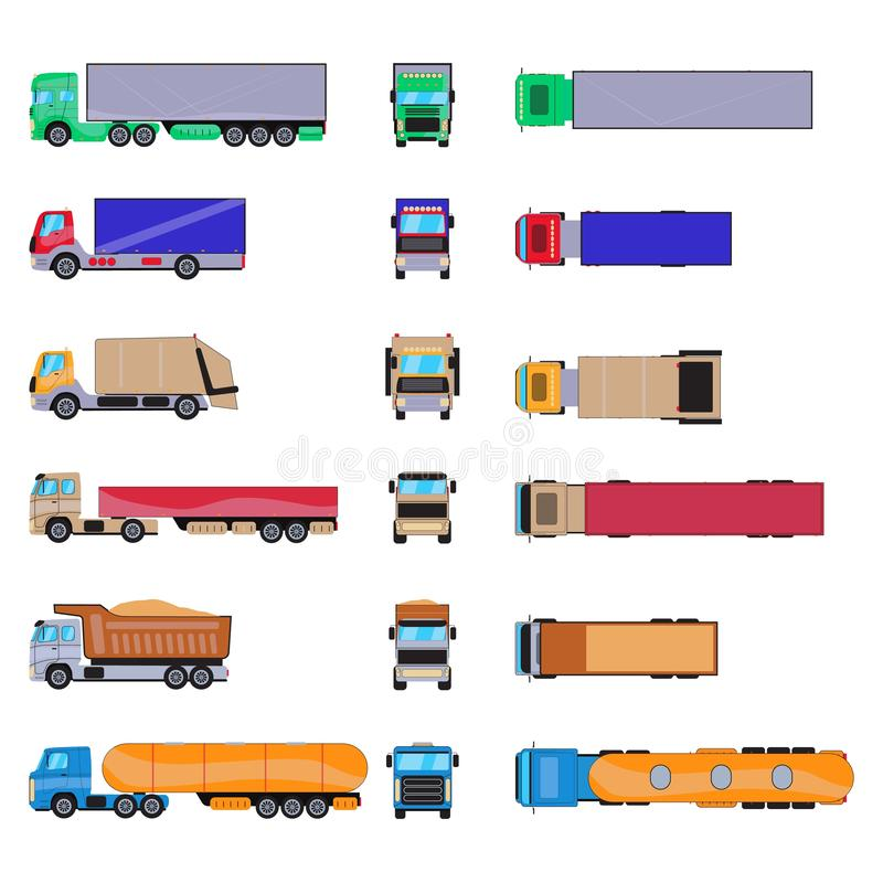Unterschiedlicher Fracht-LKW mit Behälter Große Anhängerschablone lokalisiert auf weißem Hintergrund Satz Karikaturvan mockup stock abbildung
