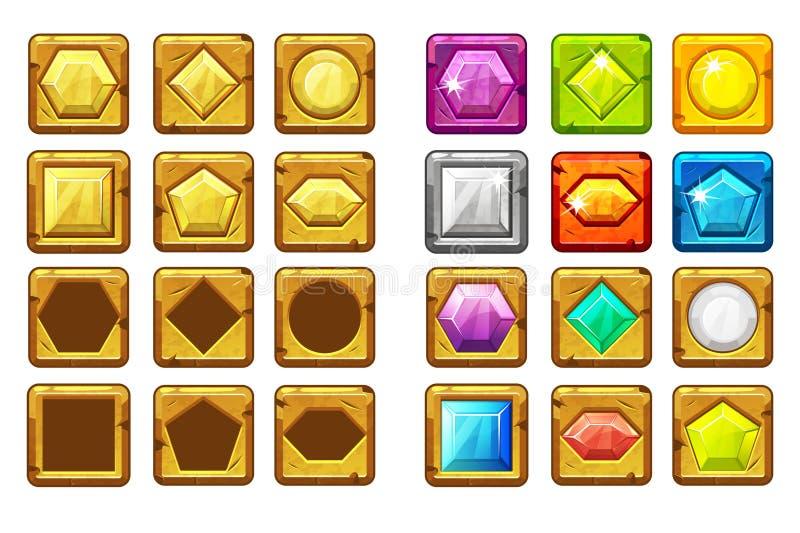 Unterschiedlicher geformter mehrfarbigen und des Goldes der Karikatur Knopf der Edelsteine, für Ui-Spiel stock abbildung