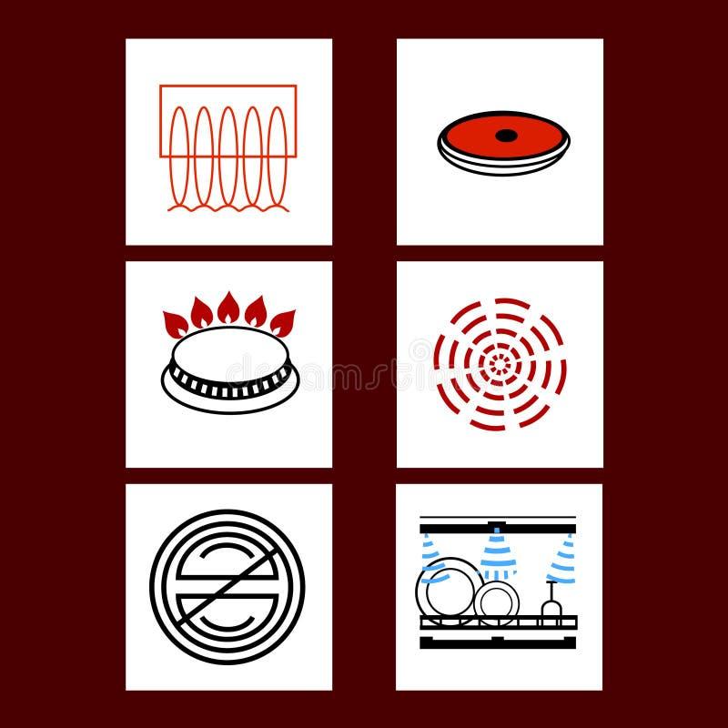 Unterschiedlicher Kocher, Gewindebohrer, Ofen-Ikonen-Vektor lizenzfreie abbildung