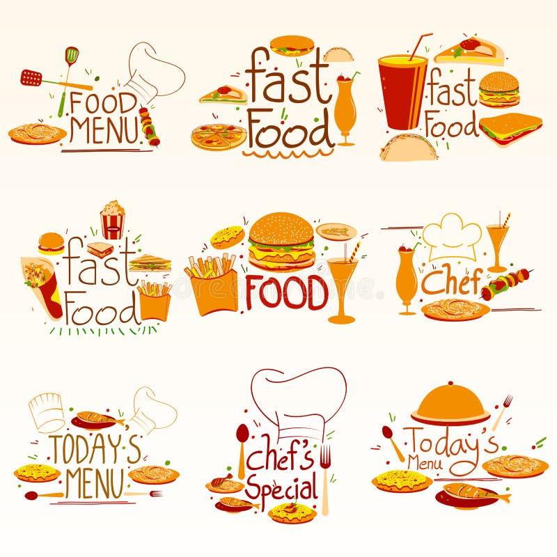 Unterschiedlicher Schnellimbiß und Nachtisch bezogen sich Zusammensetzung für Restaurant-Menü lizenzfreie abbildung